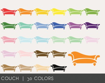 Couch Digital Clipart, Couch Graphics, Couch PNG, Rainbow Couch