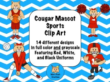 Cougar Mascot Sports Clip Art featuring Red, White, and Bl