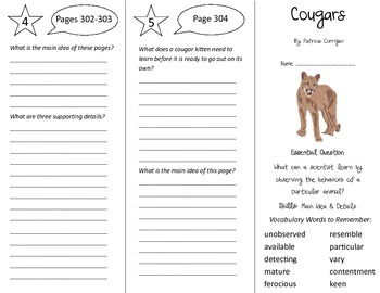 Cougars Trifold - Journeys 5th Grade Unit 2 Week 5 (2014,