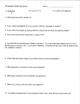 Coulomb's Law Pop Quiz