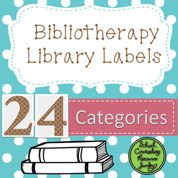 Bibliotherapy Counseling Bookshelf Library Labels: Teal Po