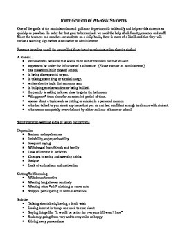 Counseling - Identification of At-Risk Students - Handout