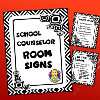 Counseling Office Signs Black and White