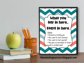 Counseling Poster with Teal & Coral Chevron and Confidenti