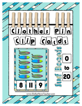Count 0 to 20 Clip Card Clothes Pin Math Center  ~ Surf Bo