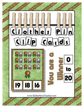 Count 0 to 20 Clip Card Clothes Pin Math Center  ~ You are