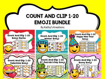 Count And Clip 1-20 Emoji Bundle