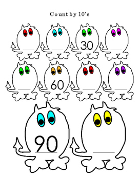 Count By 10s Halloween Monsters 2 pages
