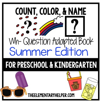 Count, Color and Name Summer Adapted Book for Preschool an