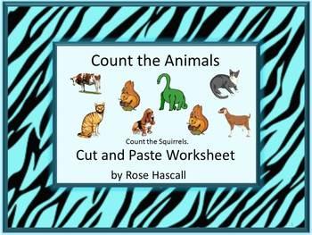 Animals NO PREP Cut and Paste Math Center Printables Kindergarten