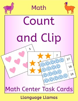 Counting - Count and Clip Cards with shape graphics for Ma
