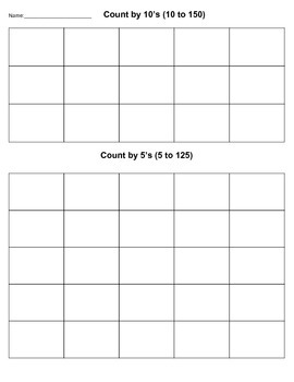Count by 5's & 10's Assessment