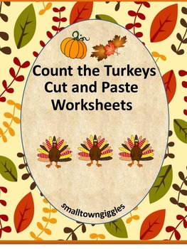 Thanksgiving Cut and Paste Math Counting Addition & Subtra
