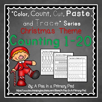 Count to 20 (Color, Count, Cut, Paste, and Trace: Christma