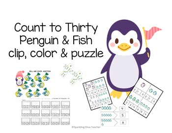 Count to Thirty  Penguin & Fish  clip, color & puzzle