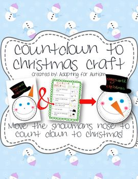 Countdown to Christmas Snowman Craft - template & visual s
