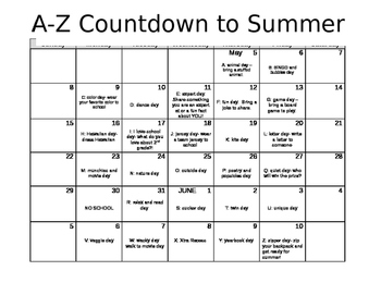 Countdown to Summer A-Z Activities Editable