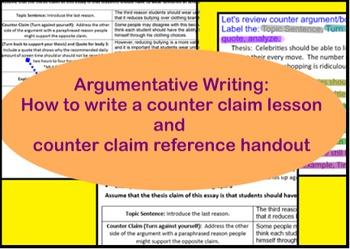 Counter argument/counter claim handout and slides- Argumen