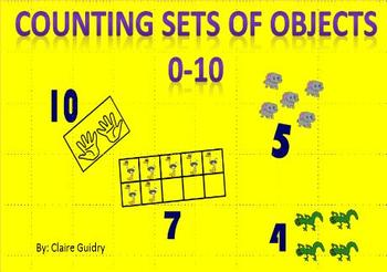 Counting 0-10 for Kindergarten, Subitizing 4 Sets of Objec