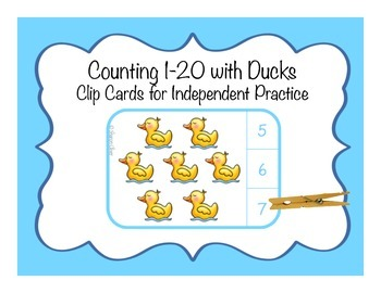 Counting 1-20:  Clip Cards for Independent Practice - Ducks
