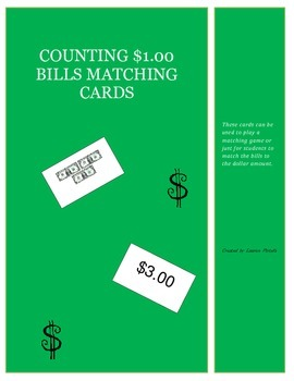 Money-Counting $1.00 Bills Matching Cards