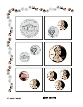 Counting / Adding Coins to 11 cents - Math Center - Basic