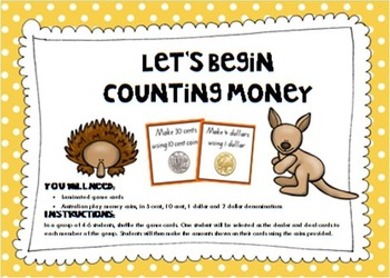Counting Australian Money- A Beginner's Activity