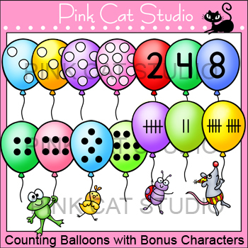 Counting Balloons with Bonus Characters Clip Art Set - Per