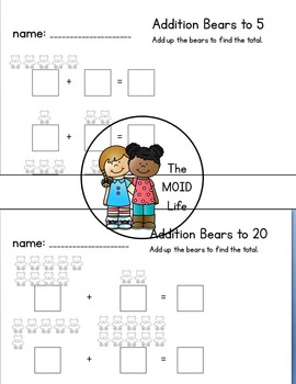 Counting Bears NO PREP Addition Practice Pages