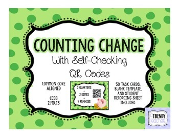 Counting Change Task Cards with Self-Checking QR Codes