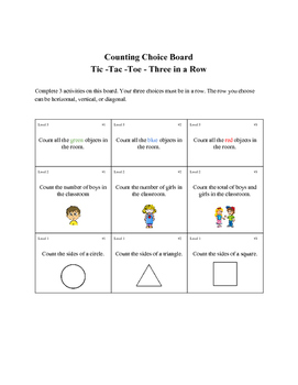 Counting Choice Board