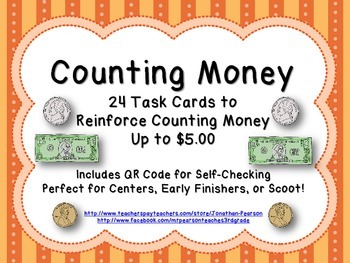 Counting Dollars and Coins (Up to $5.00) - 24 Task Cards W