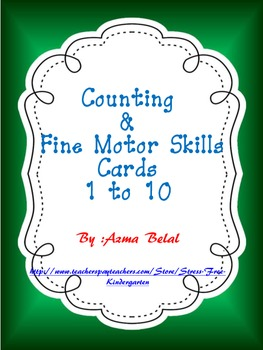Counting, Fine Motor Skills Cards Numbers 1 to 10