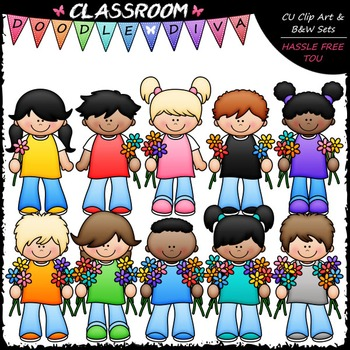 Counting Flowers Kids Clip Art - Counting & Math Clip Art