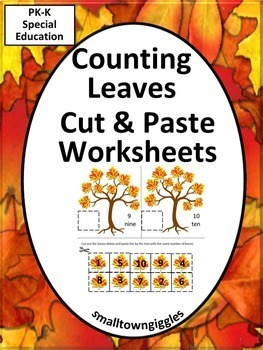 Fall or Autumn Leaves Cut and Paste Kindergarten Math Cent