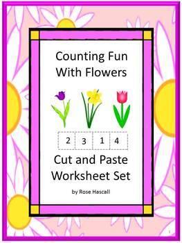 Spring Cut and Paste Kindergarten NO PREP Math Worksheets