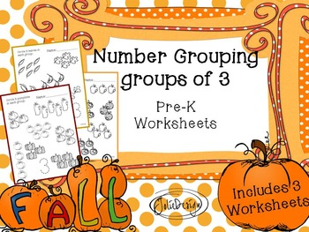 Counting Groups of Three - Fall Themed PreK Worksheet