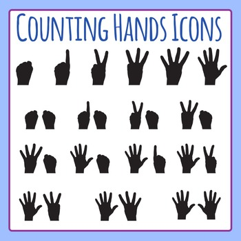 Counting Hands Symbols / Icons Clip Art for Commercial Use