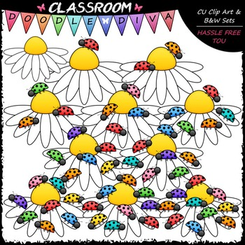 Counting Ladybugs Clip Art - Counting & Math Clip Art & B&W Set