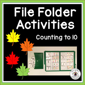 Counting Leaves to 10 File Folder Activities