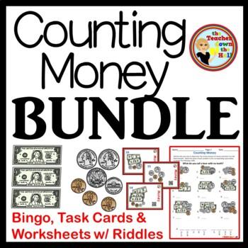 MONEY - Money BUNDLE - Bingo, Task Cards, & Worksheets w/