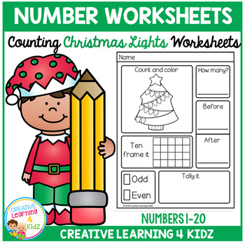 Counting & Number Worksheets 1-20: Christmas Lights