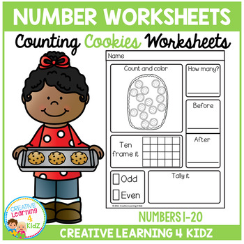 Counting & Number Worksheets 1-20: Cookies