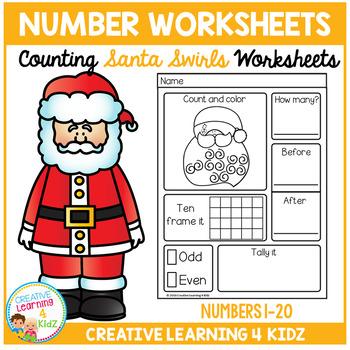 Counting & Number Worksheets 1-20: Santa Swirls