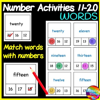 Counting Numbers 11-20 Number Recognition Read WORDS Math