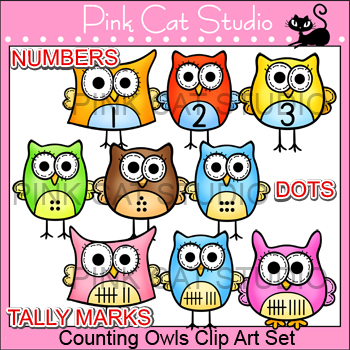 Owl Clip Art - Counting Owls Set - Numbers, Tally and Dots