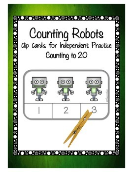 Counting Robots 1-20:  Clip Cards for Independent Practice