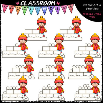 Counting Snowballs Clip Art - Sequence, Counting & Math Cl