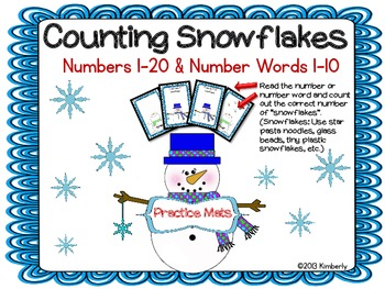 Counting Snowflakes Practice Mats (Numbers 1-20 & Number W