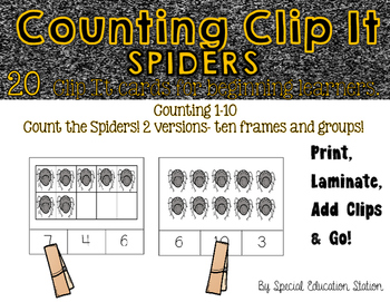 Counting Spiders Clip It {A Beginning Work Task)